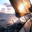 Sailing to the sunrise — Stock Photo