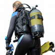 Stock Photo: Diver with dive equipment