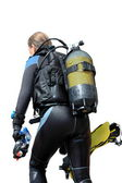 Diver with dive equipment — Foto Stock