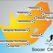 World Cup South Africa, Soccer city — Stockvektor