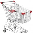 Stock Vector: Metal shopping trolley isolated on white