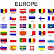 Vecteur: List of all European country flags