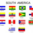 List of all flags of South America coun — Stock Vector