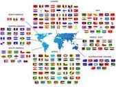 在世界所有国家的国旗 — 图库矢量图片