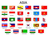 List of all flags of Asian countries — Stock Vector