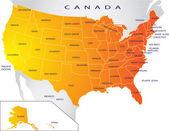 Political map of USA — Stock Vector
