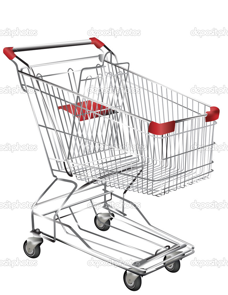 Metal shopping trolley isolated on white — Stock Vector #1930471