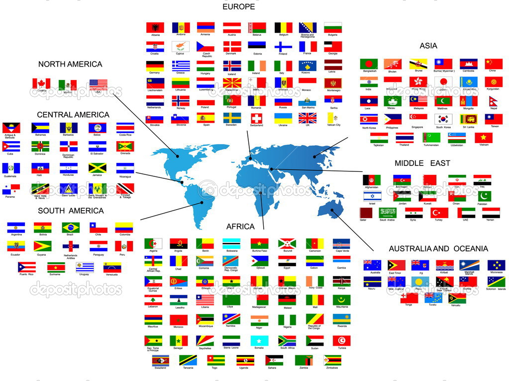 Vector Flags of all countries in by the region of the world — Imagen vectorial #1930622