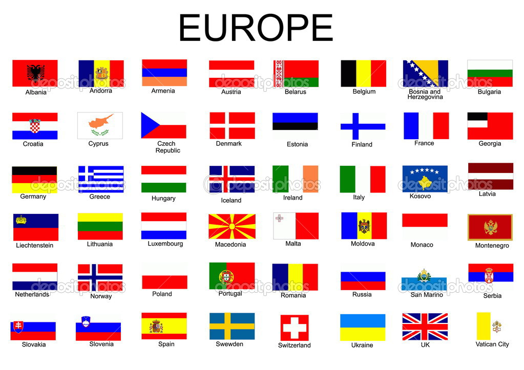 List of all european country flags stock illustration