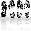 Vector illustration of various shoe prin - Image vectorielle