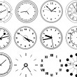 Illustration of different clocks - Stock Vector