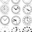 Illustration of different clocks — Stok Vektör