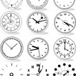 Illustration of different clocks — Stockvectorbeeld
