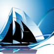 Background with yacht — Image vectorielle