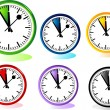 Illustration of different clocks — Stock Vector