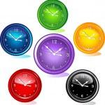 Ilustración de diferentes relojes — Vector de stock