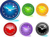 Illustrazione di diversi orologi — Vettoriale Stock