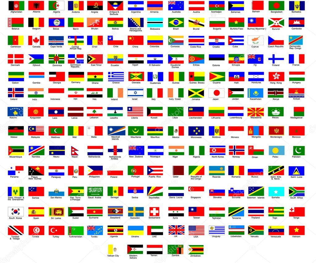 lijst van vlaggen van alle landen in de wereld