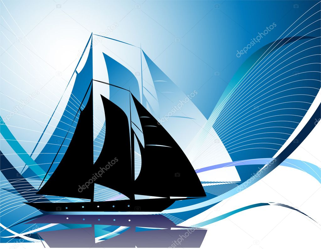 Background with yacht — Stock Vector #1951204