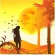 Background with girl and sunshine — Stock Vector #1971878