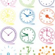 Illustration of different clocks — Imagens vectoriais em stock