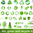 Eco, bio, green and recycle symbols - Stok Vektör