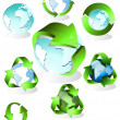 Eco, bio, groen en recycle symbolen — Stockvector  #1974107