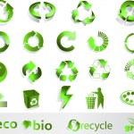 symboles Eco, bio, vert et recycle — Vecteur