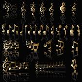 Fundo com notas musicais — Vetor de Stock