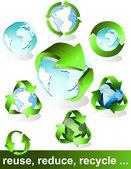 Eco, bio, green and recycle symbols — Stock Vector