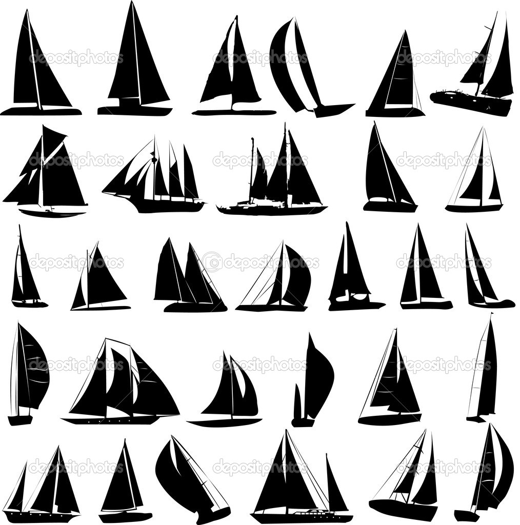 Silhouettes of yachts — Stock Vector #1971589