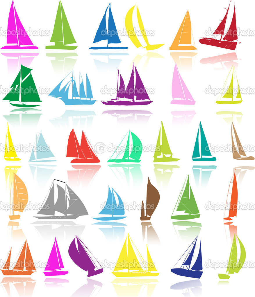 Silhouettes of yachts — Stock Vector #1974465
