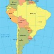 Political map of South America — Stock Vector