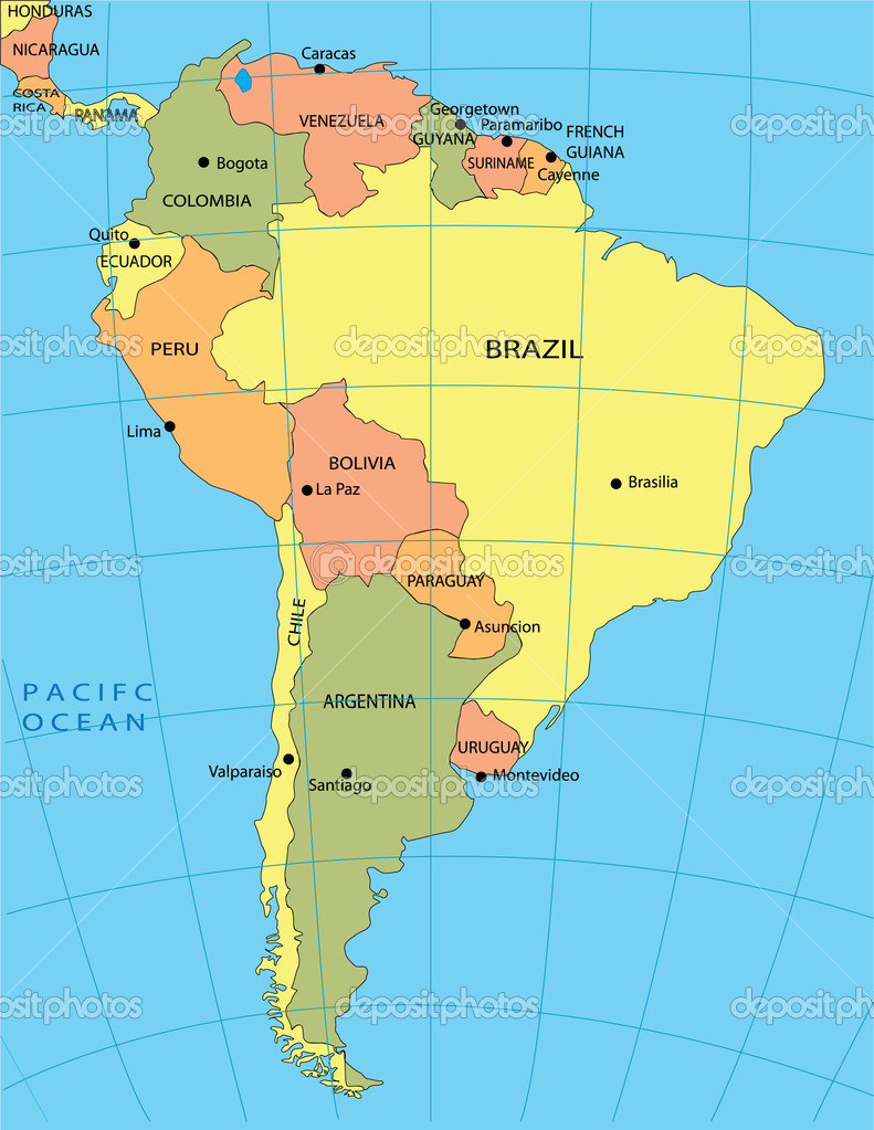 Political Map Of South America Mexico Bahamas Guatemala Map Of - Ecuador south america map