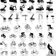 Vector illustration of bicycles and Cons - Imagens vectoriais em stock