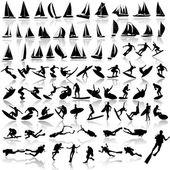 Illustration vectorielle de sport de mer, voiliers — Vecteur