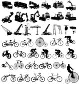 Vector illustration of bicycles and Cons — Stock Vector