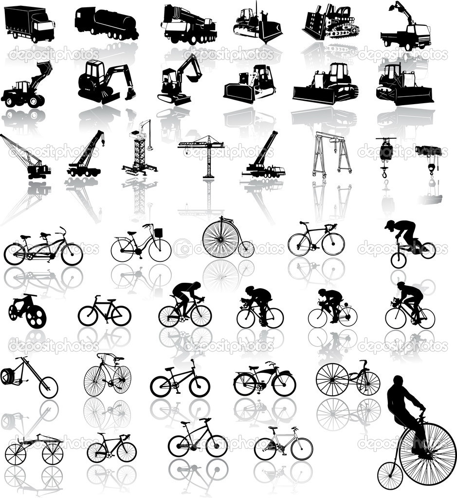Vector illustration of bicycles and Construction vehicles — Stock Vector #2441818