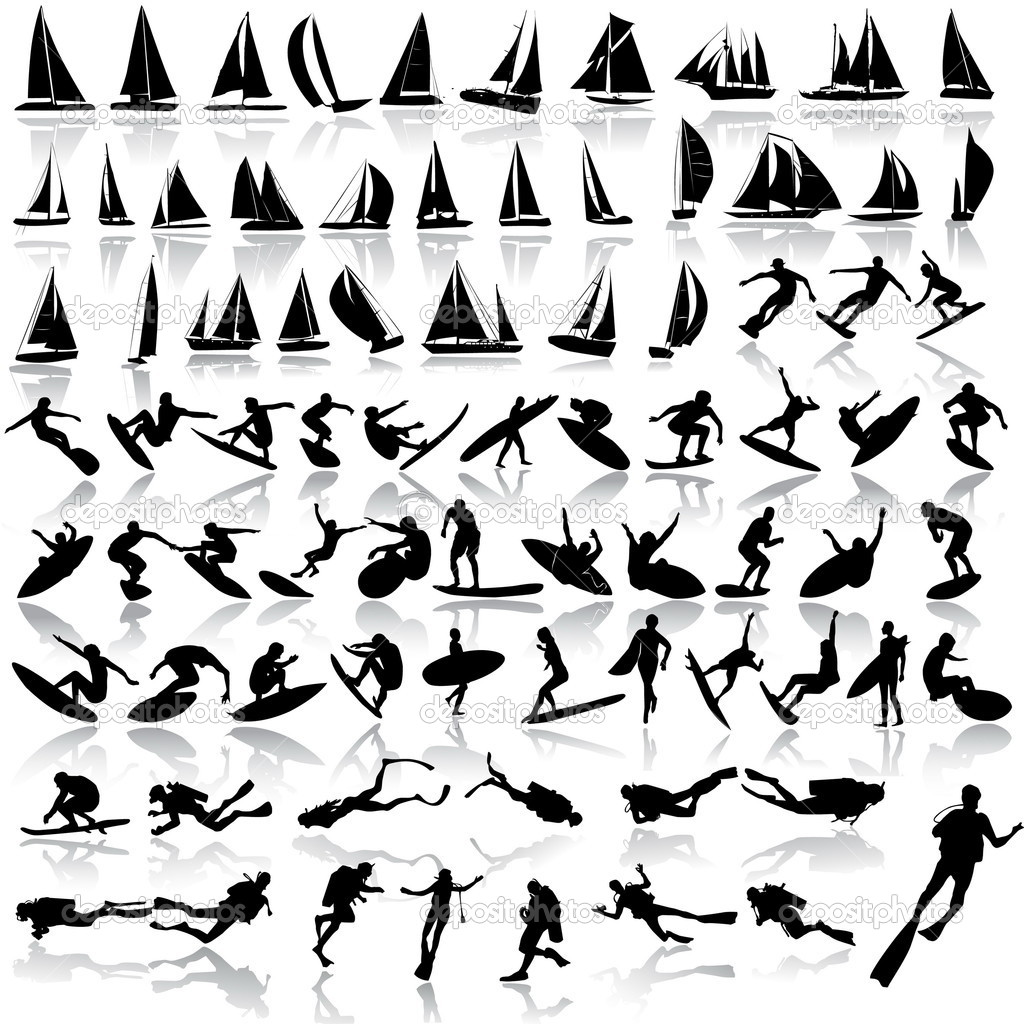 Vector illustration of sea sport, yachts, surfing, diving  — Stockvectorbeeld #2447784
