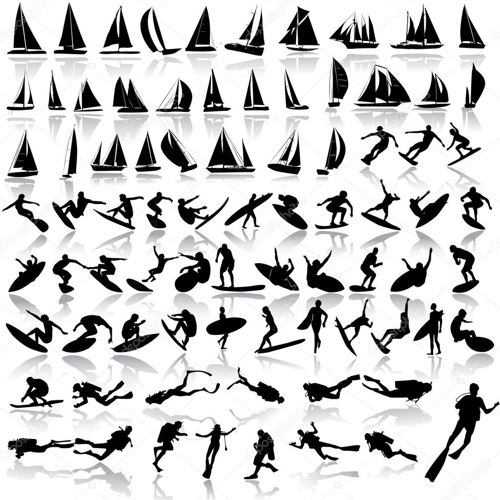 Vector illustration of sea sport, yachts, surfing, diving  — Stockvektor #2447784