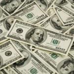 Big pile of the money dollars USA — Stock Photo