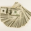One Hundred Dollar Bills Fanned — Stock Photo