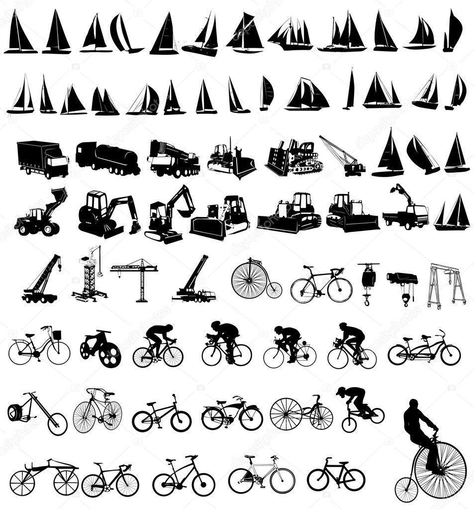 Vector illustration of bicycles, yachts  and Construction vehicles  Stock Vector #2526318