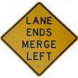 Stock Photo: Lane Ends Merge Left
