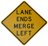 Lane Ends Merge Left — Stock Photo