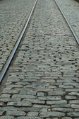 Rails & cobblestones — Stock Photo