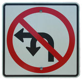 No Left Or U-Turn — Stock Photo
