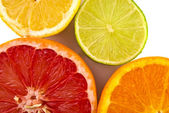 Citrus fruits in a row — Stock Photo