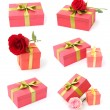 Collection of red gift boxes — Stock Photo