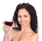 Beautiful woman with wineglass — Stock Photo